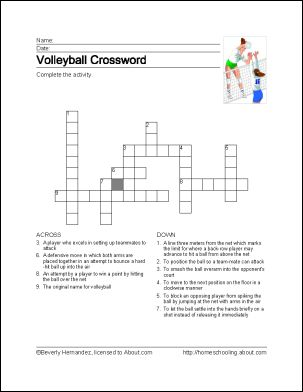 Volleyball Printables: Volleyball Crossword Puzzle // a little different than the things I usually pin, but this would be a cool thing to do during a break at a tournament!