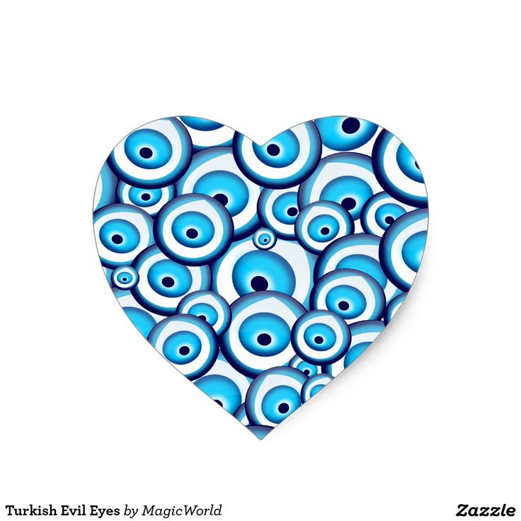 Olhos maus turcos adesivo coração