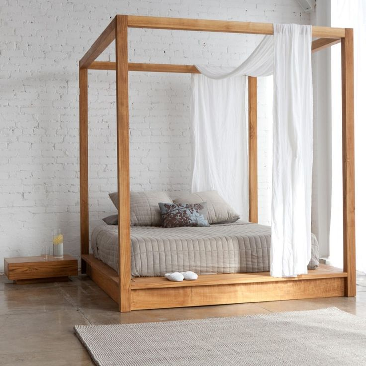 light wood modern canopy bed
