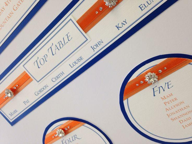 Gorgeous embellishment diamanté sparkly table plan cobalt blue and orange