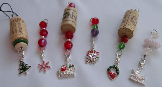 Custom Made Wine Cork Ornaments with Charms.