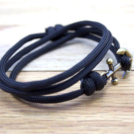 Nautische Armband - Mens-Anker-Armband - Anker-Armband - Anker - nautische Armreife - Sommermode  Anker Paracord nautische Armband in schwarz.