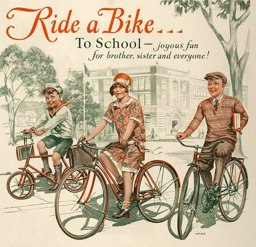 1929 ad promoting children riding their bicycles