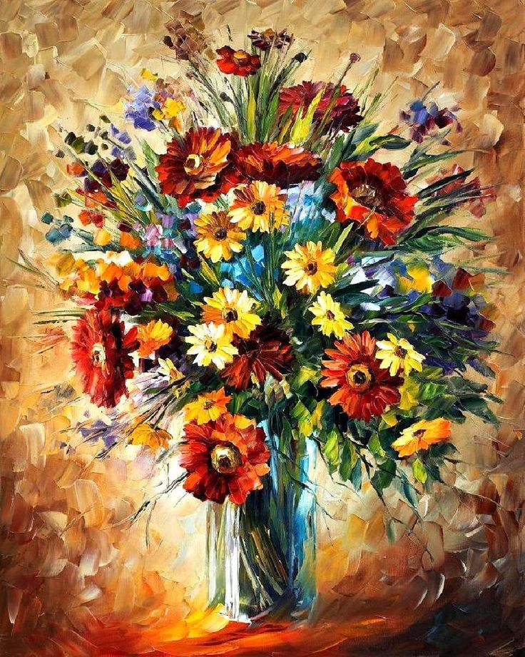 magic flowers original oil on canvas painting by leonid afremov