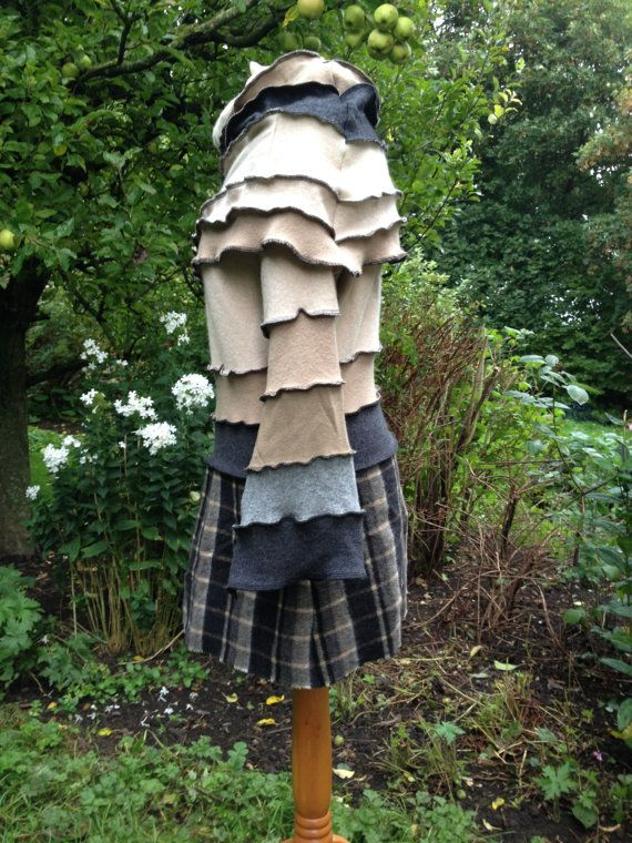 Unique cowl neck jumper dress. Quality recycled knitwear with tartan wool skirt. Beige, brown, grey with cashmere, wool and silk Unique OOAK...