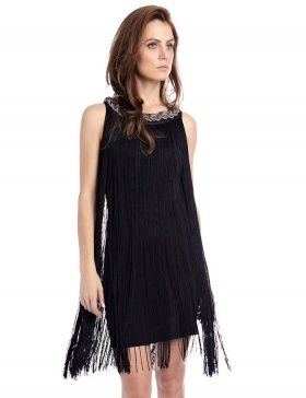 Sé la más original de la fiesta con este vestido de fiesta con maxi flecos. Be the coolest girl in the party with this maxi fringed dress.
