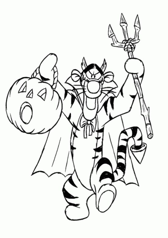 Free Pooh & Friends Halloween Coloring Pages for Kids - Picture 04