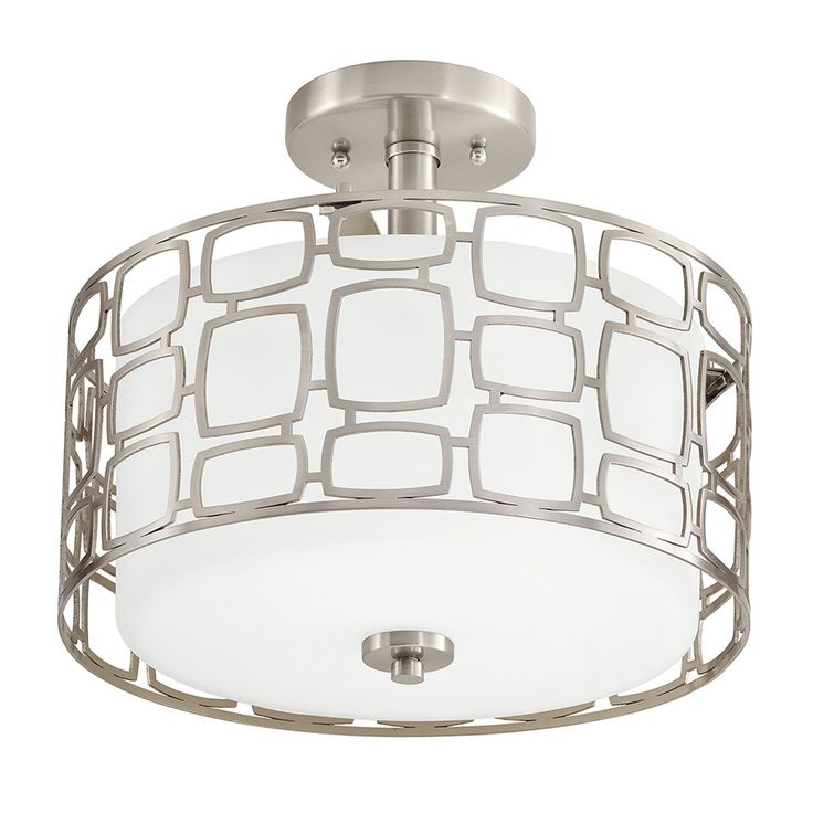 - Brushed nickel finish semi-flush mount light from the Sabine collection is shiny and chic - Etched glass shade with white interior is surrounded by a geometric metal cage for a fresh, dynamic look -