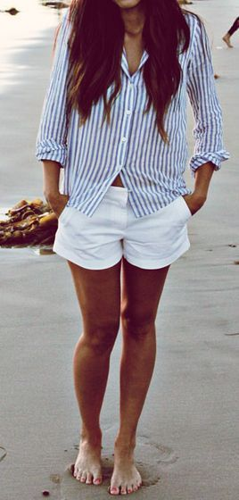 Casual Beach Looks 2015 Blue and white striped button-up and classic white shorts.