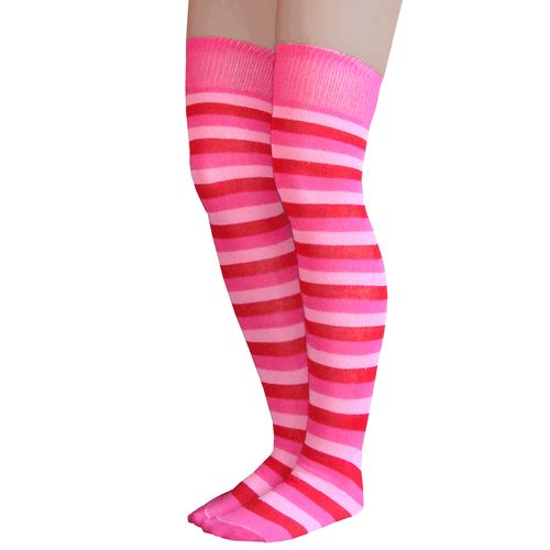 Over the knee socks with neon pink, hot pink and red stripes.  Made in USA Chrissy's Socks 877-862-6267