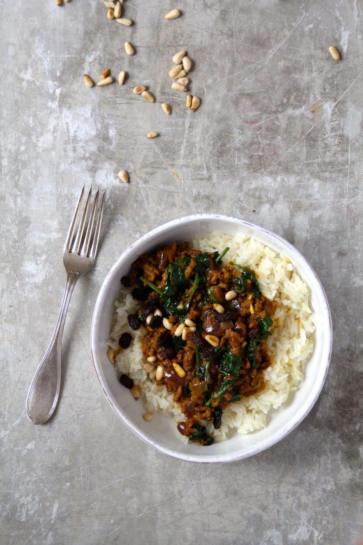 Smakfull curry med kjøttdeig og spinat
