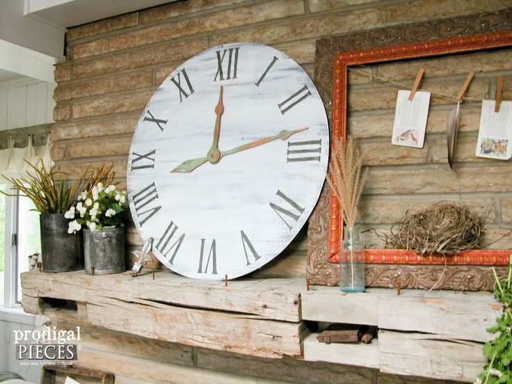 DIY How-to Rustic Farmhouse Mantel with Large Faux Clock with DIY Patina by Prodigal Pieces