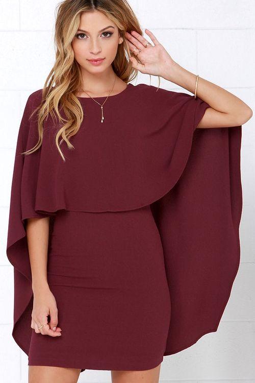 Backless Cape Design Bodycon Dress