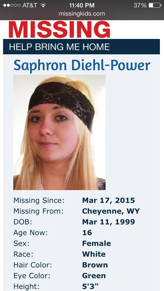 Missing 17 Year Old Girl Believed To Be In Eureka: Saphron Diehl-Power Missing SinceMar 17, 2015 Missing
