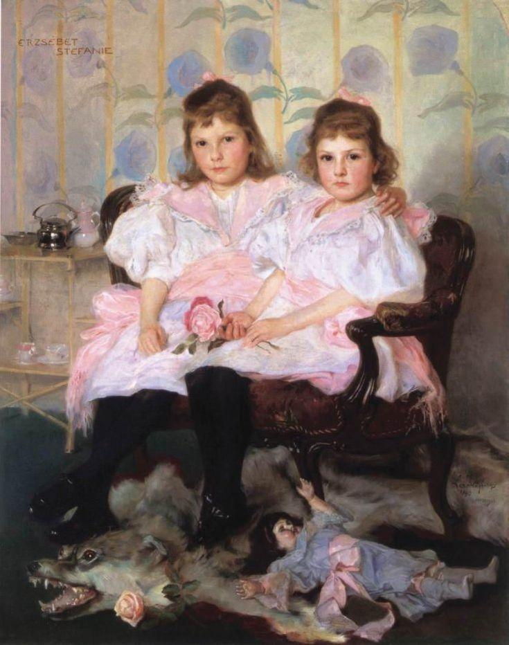 Philip Alexius de László (1869-1937)  ––  Peintre anglais d'origine hongroise- double portrait d'Erzsébet et Stefanie,1896  (737x934):