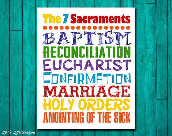 The Seven Sacraments. Catholic Wall Art for by LittleLifeDesigns