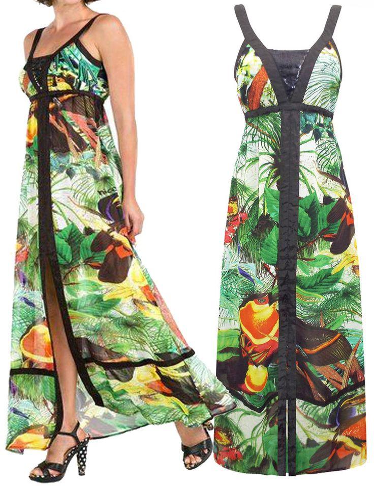 NEW DESIGUAL BULGARIA Exotic Floral Print Maxi Dress 8 to 16 RRP £89