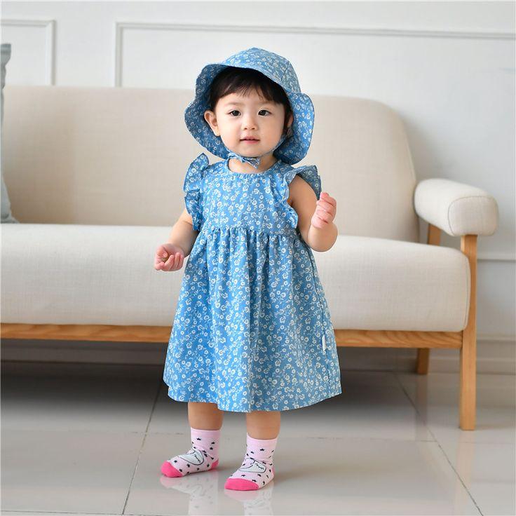 >> Click to Buy << New baby Flowers Denim girls dress with hat Cute Toddler girls dresses Sleeveless girls summer dress #Affiliate