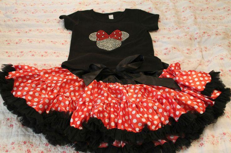 Girls Disney theme Minnie Mouse Sparkle Shirt and Polka Dot Tutu Outfit. Size 6  #Custom