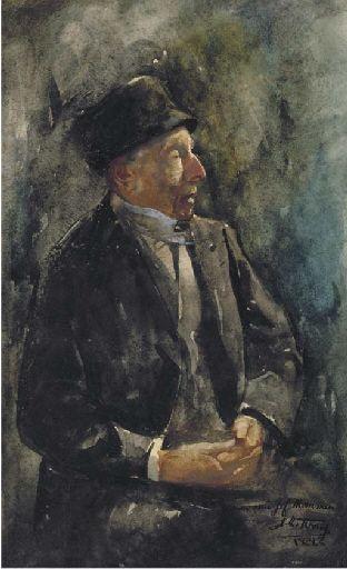 Jan Toorop - A portrait of a man; Creation Date: 1883; Medium: watercolour on paper