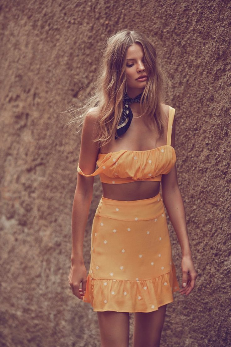 Chiquita tank top and mini skirt set from For Love & Lemons spring 2017 collection