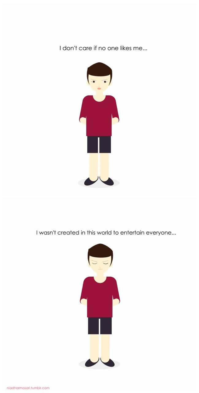 """Cute Doodles Illustration — """"I don't care if no one like me, I wasn't created..."""