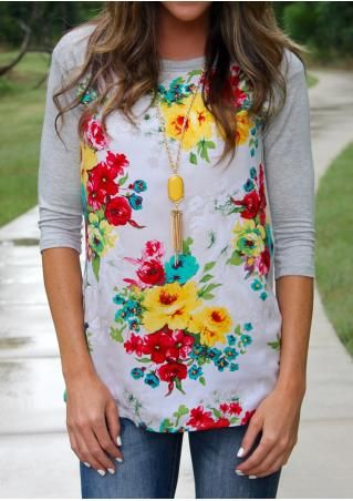 belle lily - awesome discount boutique. Cheap stuff. Floral Splicing O-Neck Fashion T-Shirt Without Necklace
