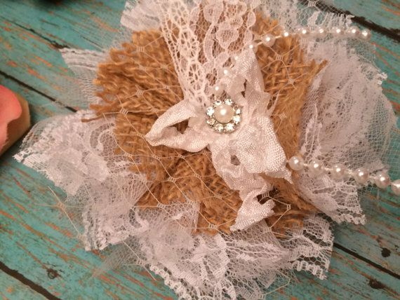 Burlap and Lace Flowers, Wedding Cake Flowers, Mason Jar Flowers, Rustic Wedding Decorations, Lampshade Flower, Burlap Hair Bow, Hair Clip