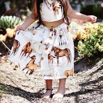'Caballo' Horse Print Maxi Skirt (Ivory)