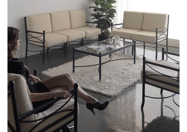 Conjunto modelo Nilo sofa, sillón y mesa de forja. #instalaciones #jardin www.fustaiferro.com