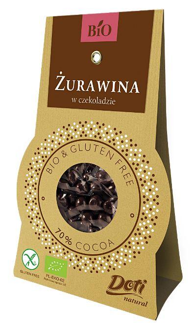 Żurawina w czekoladzie deserowej Bio, 60 g - Doti