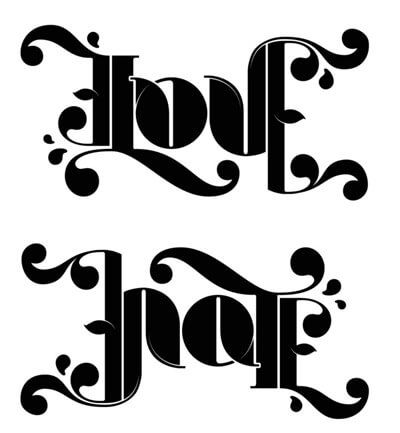 Love Ambigram Tattoo
