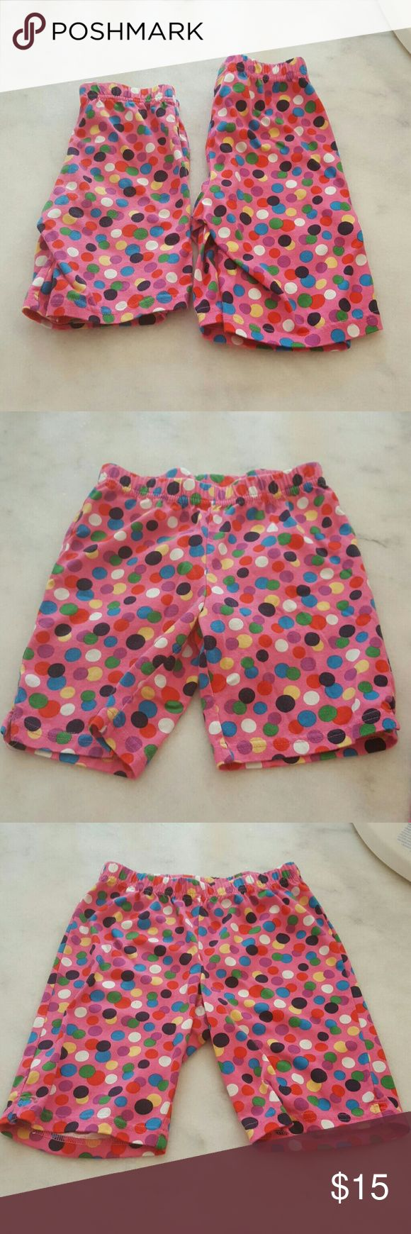Hanna Anderson Shorts 2 pairs of polka Dot Shorts  Sizes 110 (5-6x) and 130 (8-10) girls Gently Worn  100% Cotton Machine Wash warm inside out and Tumble Dry low Hanna Andersson Bottoms Shorts