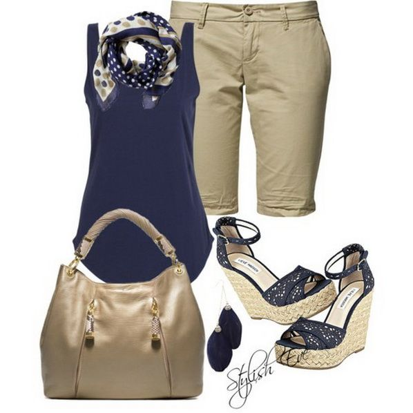 Blue Spring/ Summer 2013 Outfits for Women by Stylish Eve.    I like everything but those capri things. Not my style.