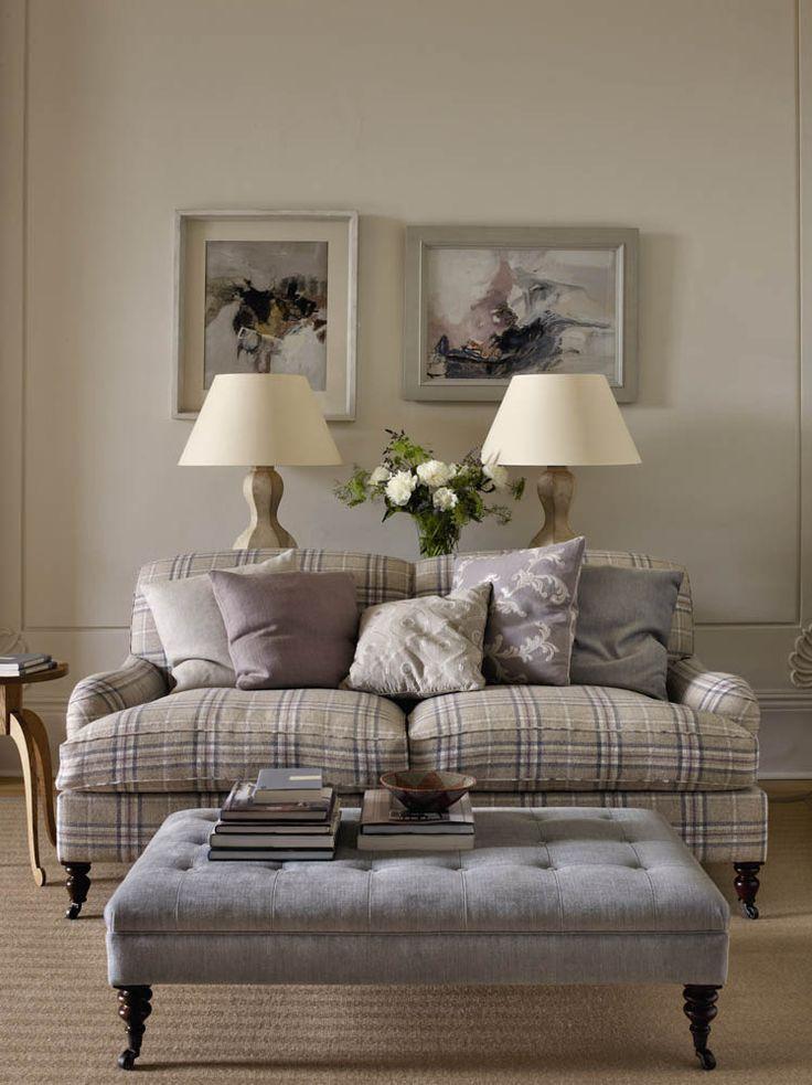 Colefax And Fowler's Kelburn Check (couch), pillows L-R: Suffolk, Suffolk, Heywood, Mirabelle Linen, Barbizon, Layton (ottoman) #colefaxandfowler #textiles #fabrics