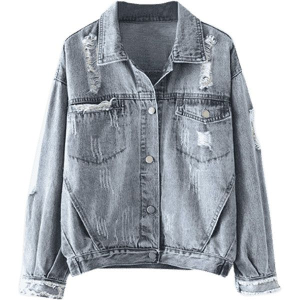 Button Up Ripped Denim Jacket With Pockets (1.745 RUB) ❤ liked on Polyvore featuring outerwear, jackets, jean jacket, pocket jacket, blue jackets, distressed jacket and blue denim jacket