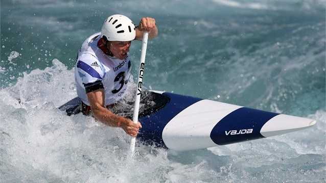 David Florence of Great Britain practises for the Canoe Single.  London Olympics 2012