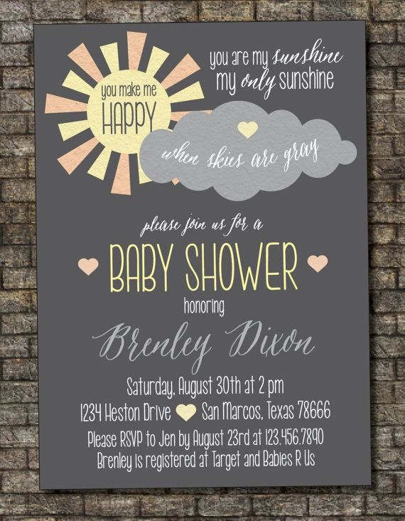 You Are My Sunshine Baby Shower Invitation by PurplelephantDesigns