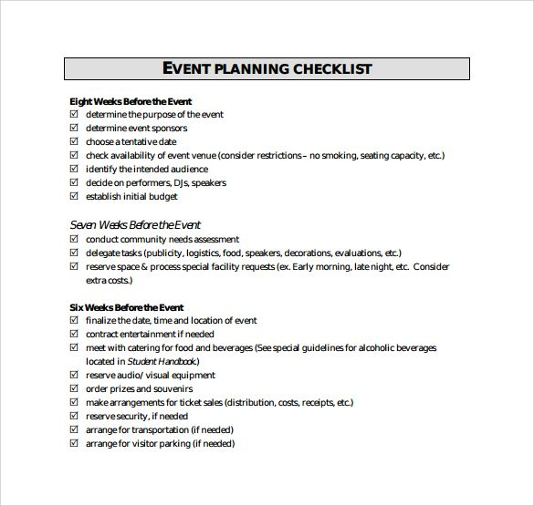 Event Planning Checklist  Download Free Documents In Pdf EwcxiiW