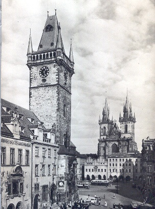 Old Prague Postcard - Old Town Hall and Tyn Church
