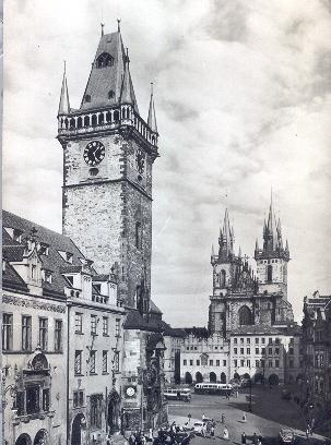 Old Prague Postcard - Old Town Hall and Tyn Church