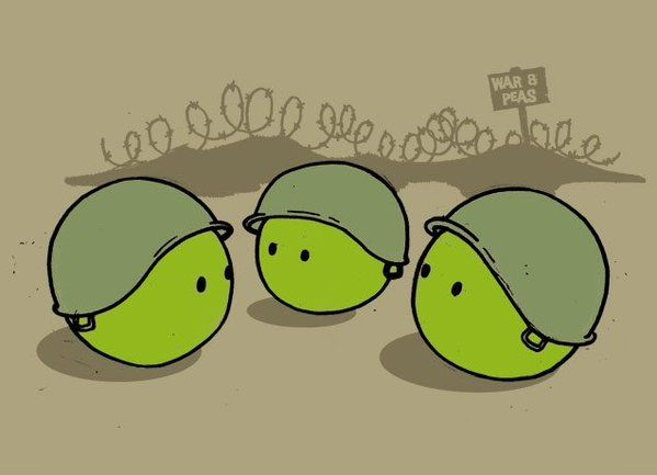"""War and (green)peas? tweets Eddie Eyre, tagged #WarAndPeace this reminds me of my DAR-Marine M-i-L (+RIP+) who would let rip """"for the love of green peas...""""  when mightily irritated, chuckle. Women in her era never saw combat, what to make of our own when they will?"""