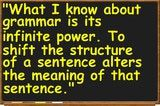 What Is Grammar?: American essayist and novelist Joan Didion, quoted by Donald Murray in Writing to Deadline: The Journalist at Work (Heinemann, 2000)