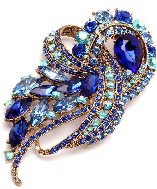 Blue Sapphire Crystal Rhinestone Brooch Pin  Shop>http://www.ladiesfashionsense.com/brooch.html