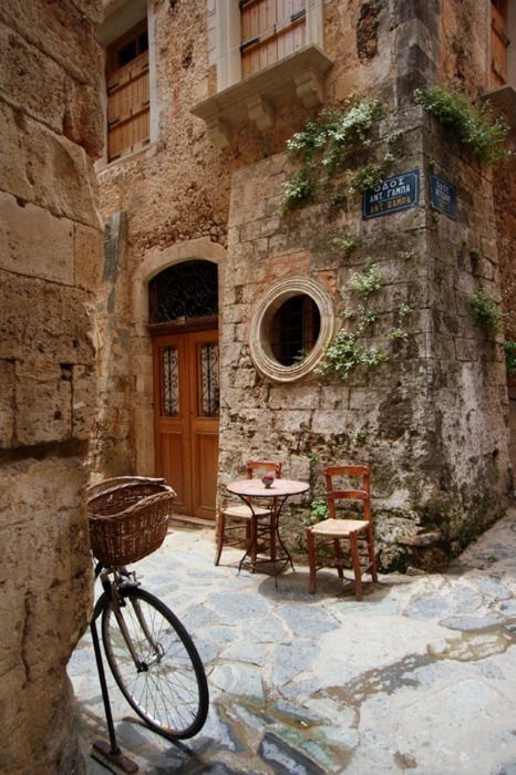AdorableStreet Corner, Tables For Two, Favorite Places, Cups Of Coffe, Old Town, Travel, Crete Greece, Riding A Bikes, Ancient Street