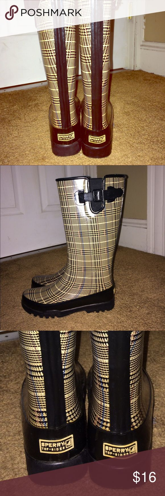 Sperry Top Sider Rubber Boots. Sperry Rubber Boots or 'Wellies' in plaid with buckle detail at top and with a comfy black fleece lining. Size 7 EUC. Sperry Top-Sider Shoes Winter & Rain Boots