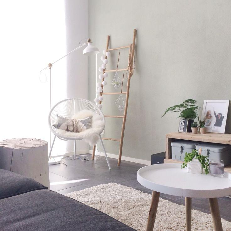Hoekje in de woonkamer. Deco ladder, planten/kaars hangers met airplantje erin, karwei stoel, schapenvachtje, kussen van h&m home, vloerkleed van kwantum, zelf gemaakt tv meubel van steigerhout, cactusjes in kweekpotjes, foto met vriendin, metalen kistjes, diy huis klei potje, bijzettafel kwantum en diy boomstam. Instagram @mmmmmmanon