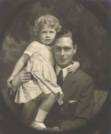 The Duke of York (later King George VI) with his eldest daughter Princess Elizabeth (later Queen Elizabeth II).