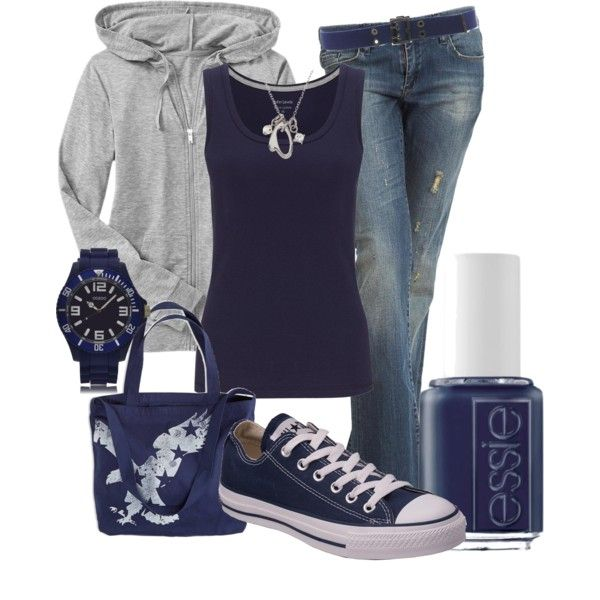 """Navy Converse"" by mallorythomas on Polyvore"