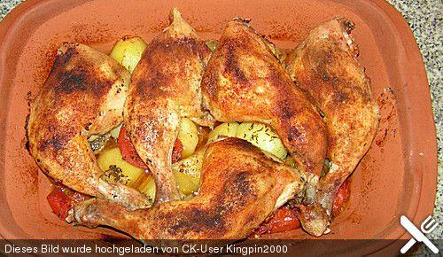 Hähnchen - Tomaten - Zwiebel - Kartoffel - Topf aus dem Römertopf (Ausprobieren!)
